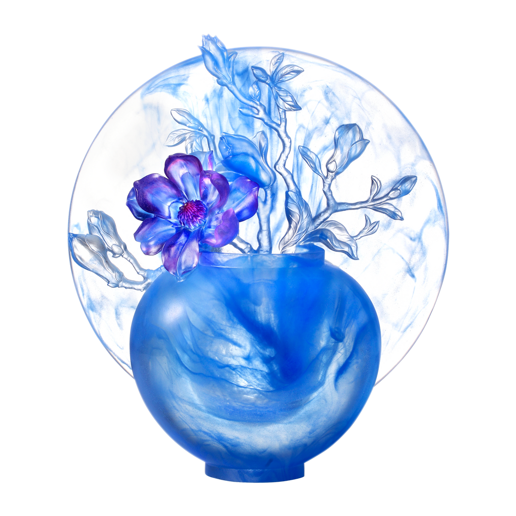 Crystal Flower, Magnolia, World of Beautiful Compassion - LIULI Crystal Art