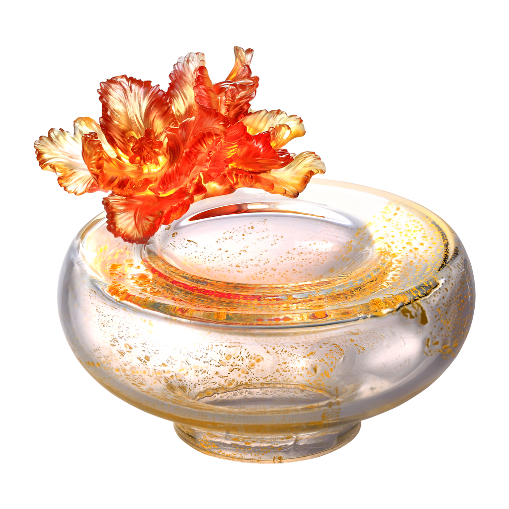 Crystal Flower, Tulip, One Moon For All Blooms - LIULI Crystal Art - Amber / Gold Red Clear.