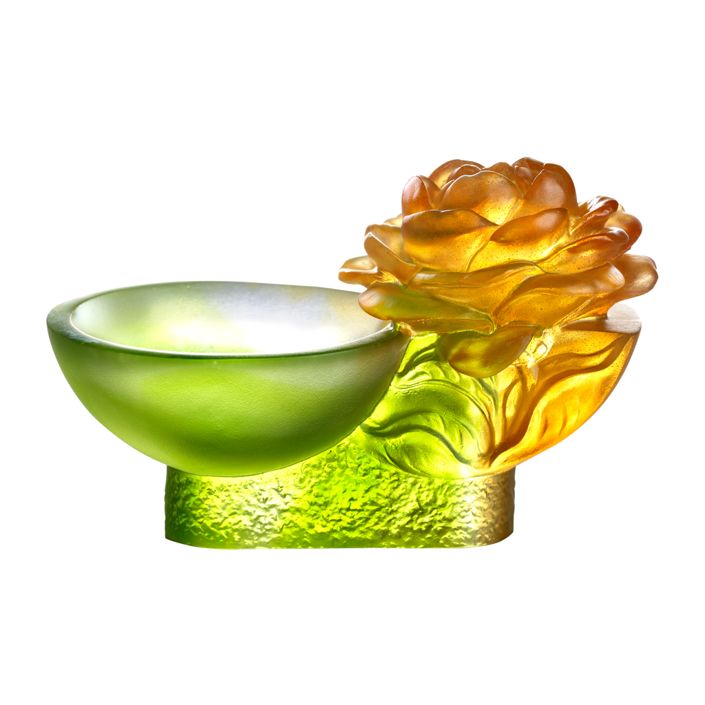 Crystal Flower, Camellia Bloom, Destined Harmony - LIULI Crystal Art - Amber / Green Clear.