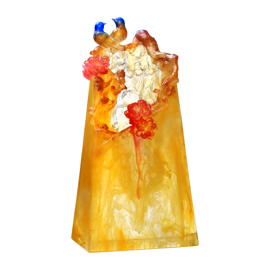 Crystal Flower, Peach, Mountain in Crimson Bloom - LIULI Crystal Art