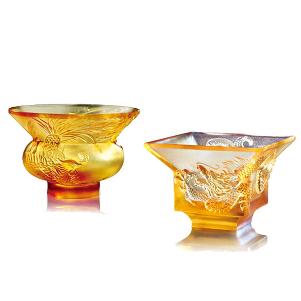 The Pleasure Between Heaven and Earth (Dragon & Phoenix) - Sake Glass (Set of 2) - LIULI Crystal Art | Collectible Glass Art