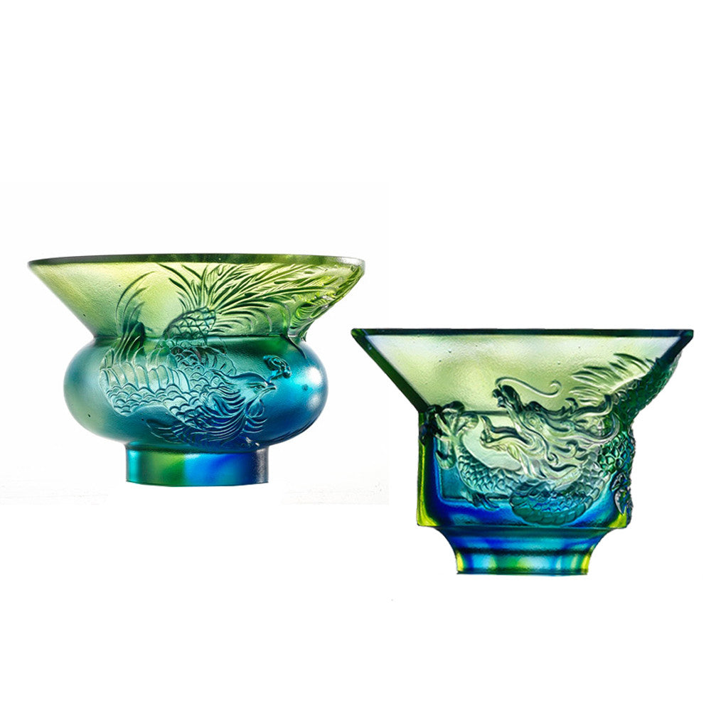 Crystal Sake Glass, Mythical Creature, Dragon & Phoenix, The Pleasure Between Heaven and Earth, Set of 2 - LIULI Crystal Art - Bluish / Green Clear.
