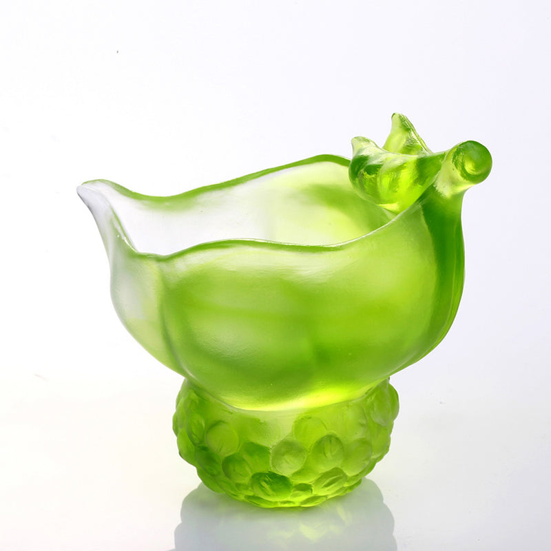 Crystal Bowl, Paperclip Holder, Desk Decor, Peas symbolizes Fortune, Propitious Abundance - LIULI Crystal Art