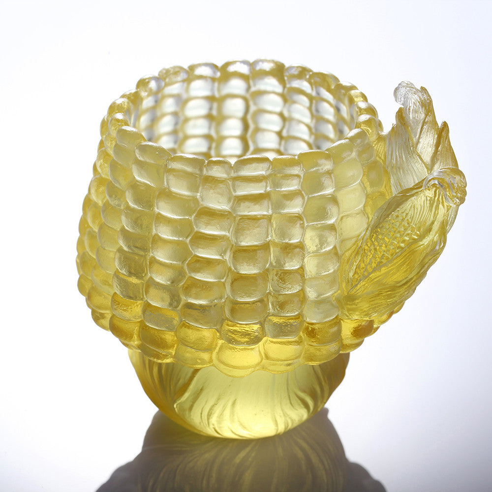 Golden Abundance (Corn symbolizes Abundance of Riches) - Snack Tray - LIULI Crystal Art - [variant_title].