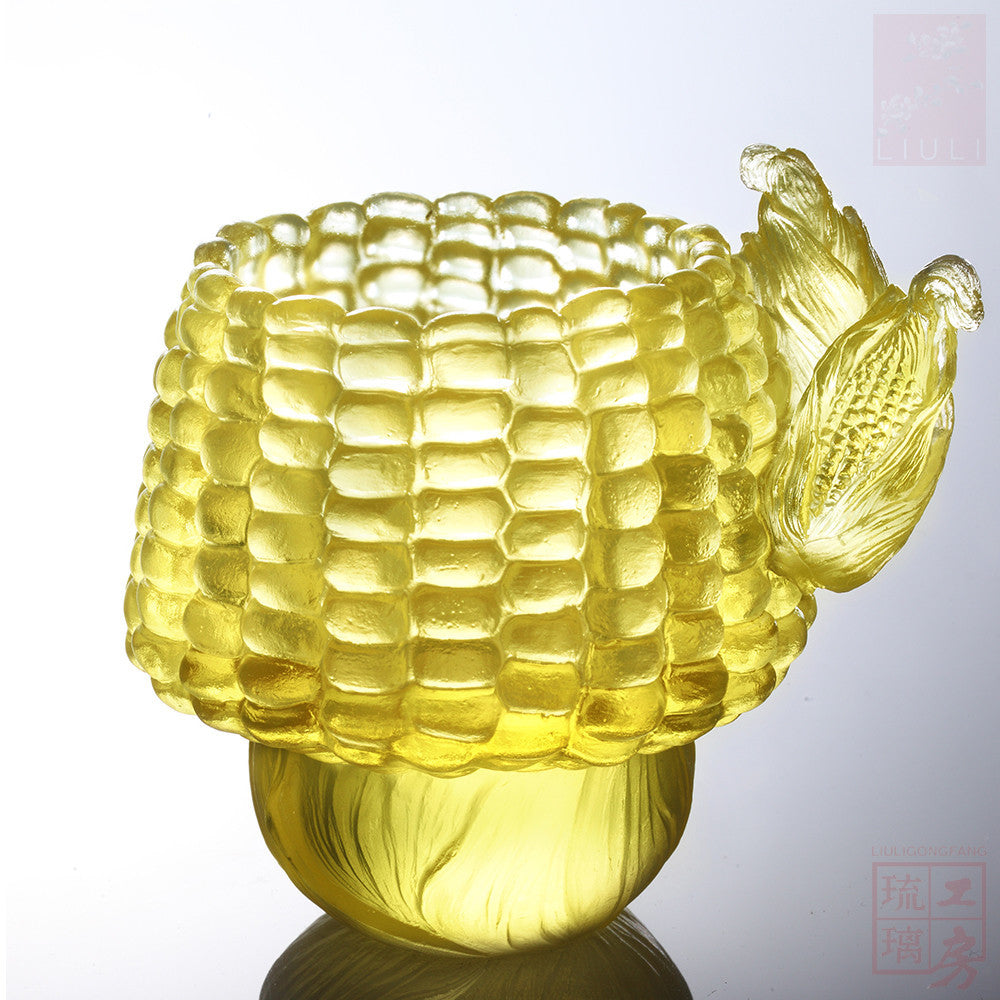Golden Abundance (Corn symbolizes Abundance of Riches) - Snack Tray - LIULI Crystal Art - Amber Clear.