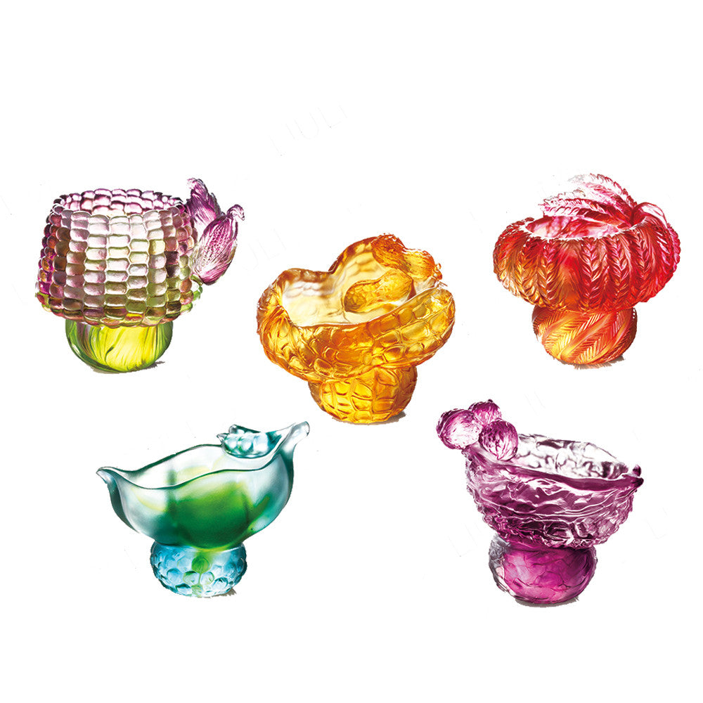 Crystal Bowl, Kitchen Decor, Prosperity, Ubiquitous-Abundance (Set of 5) - LIULI Crystal Art