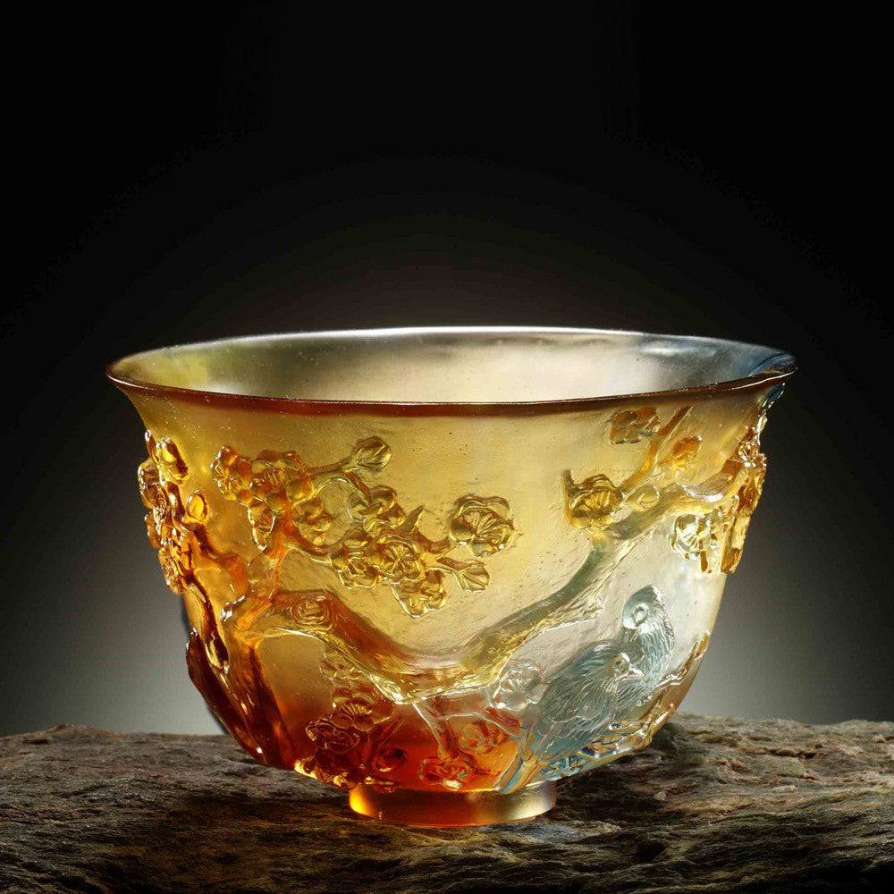 Crystal Bowl, Plum Blossom, The Four Gentlemen, The Plum Gentleman - LIULI Crystal Art