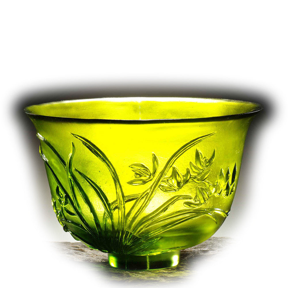 Crystal Bowl, Orchid, The Four Gentlemen, The Orchid Gentleman - LIULI Crystal Art