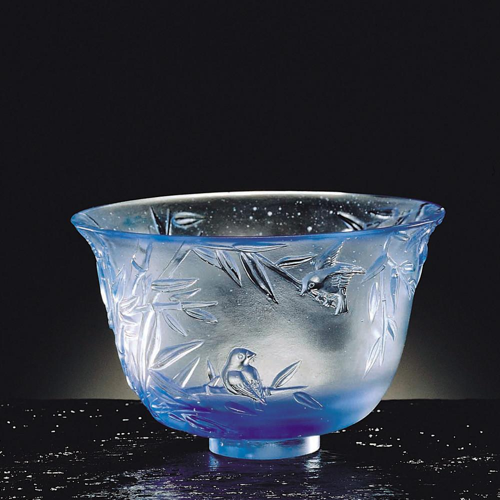 Crystal Bowl, Bamboo, The Four Gentlemen, The Green Gentleman - LIULI Crystal Art