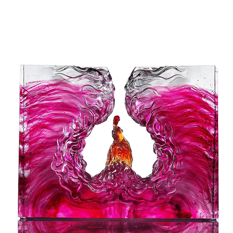 Illuminated Heart of Fire and Wind (Glorious) - Pheonix, Phoenix Mythological Bird - LIULI Crystal Art - [variant_title].