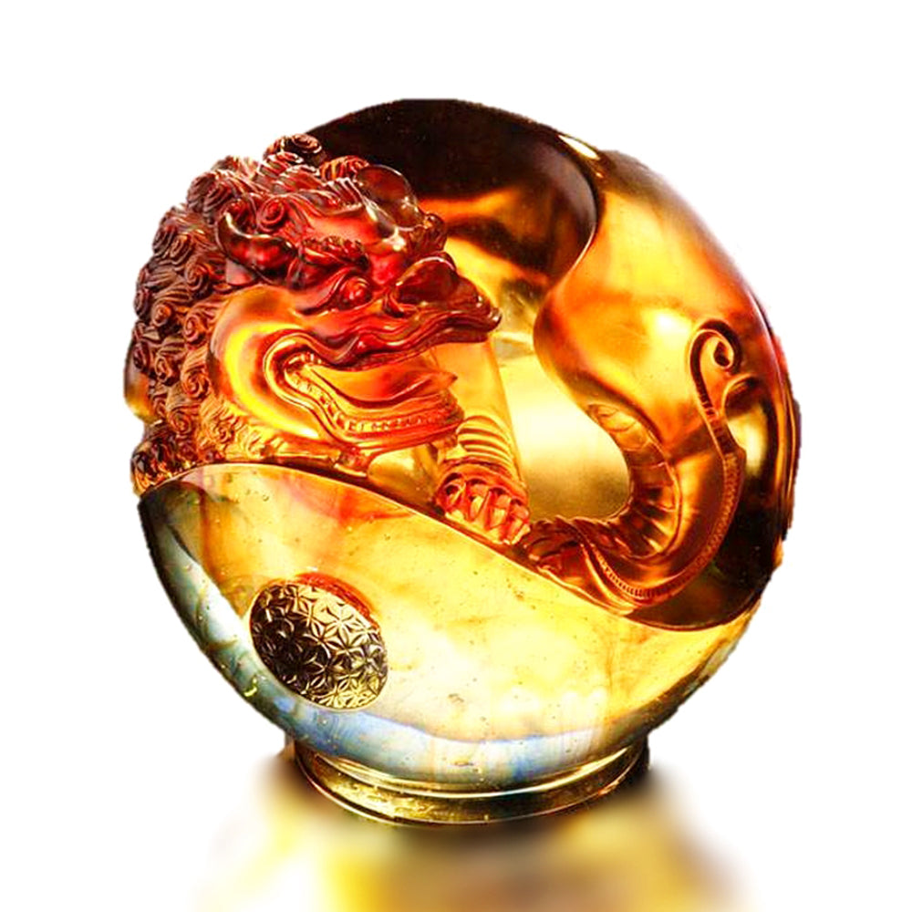 Crystal Foo Dog, Fu Dog, Mythical Creature Guardian Lion, Power and Knowledge Fulfilled - LIULI Crystal Art