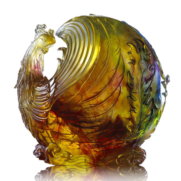 Lifted By Winds, High Above Clouds (Wisdom) - Pheonix, Phoenix Mythological Bird - LIULI Crystal Art | Collectible Glass Art