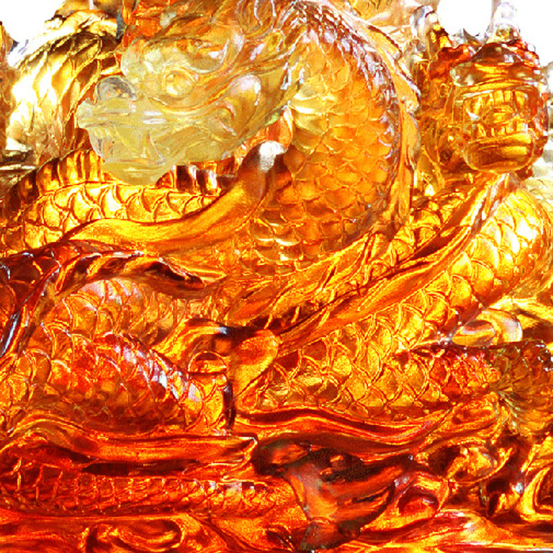 The Content of Nine Dragons - Dragon of Favorable - LIULI Crystal Art