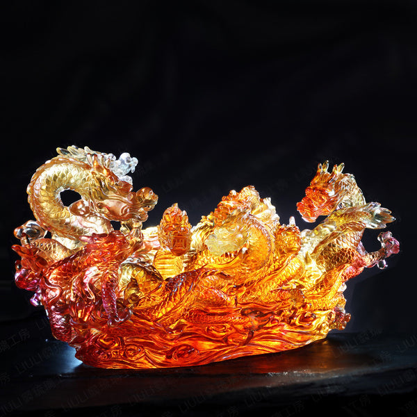 The Content of Nine Dragons - Dragon of Favorable - LIULI Crystal Art | Collectible Glass Art