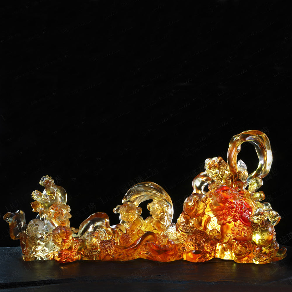 Foo Dog, Fu Dog (Joyous Blessing) - Joy in Heaven, Happiness on Earth – The Auspicious Lion - LIULI Crystal Art | Collectible Glass Art