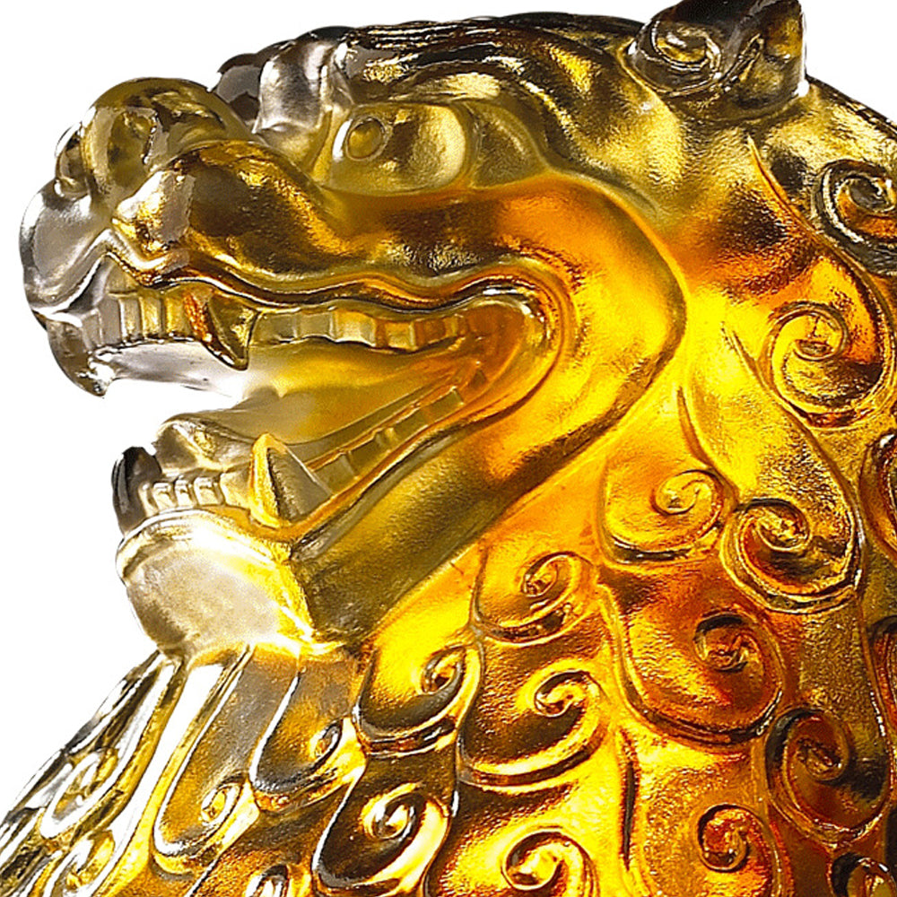 Crystal Fu Dog, Foo Dog, Guardian Lion, Mighty Heavens - LIULI Crystal Art