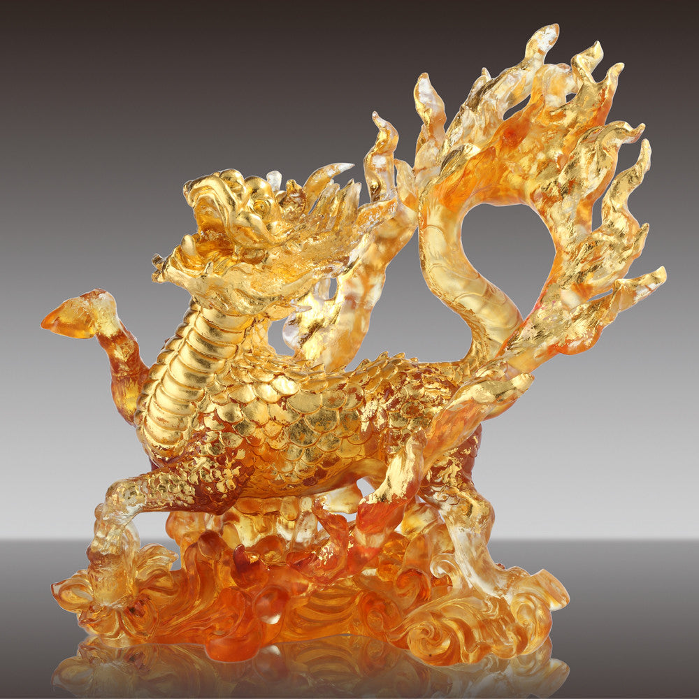 "Qilin Figurine (Mythical Creature) - ""Qilin of the Center - The Joy Amongst Us"" - LIULI Crystal Art 