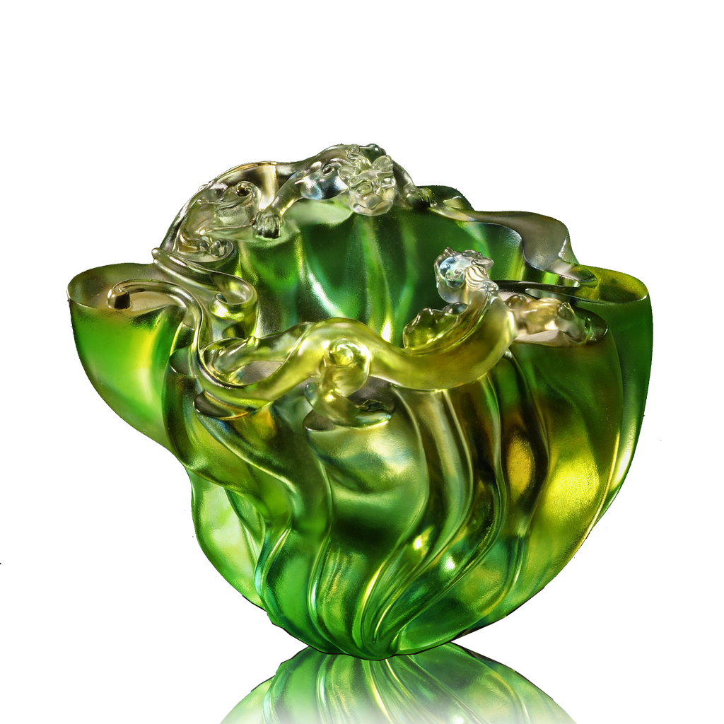 Joyous Rendezvous (Friendship) - Chilong Mythical Creature - LIULI Crystal Art