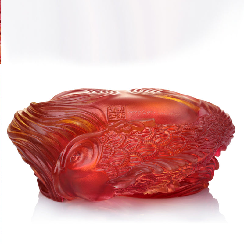 Rows of Joy (Auspiciousness) - Fish Figurine Crystal Paperweight - LIULI Crystal Art - [variant_title].