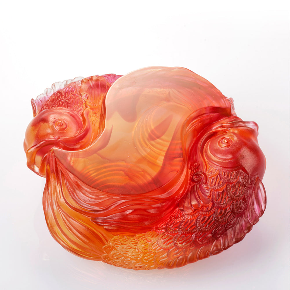 Crystal Paperweight, Fish, Rows of Joy - LIULI Crystal Art - Amber / Gold Red Clear.