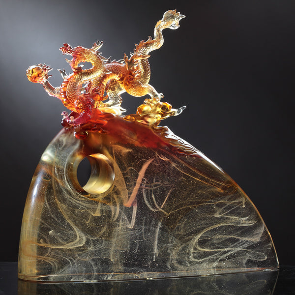 "Dragon of Leadership - ""Appearance of the Influential Dragon"" - LIULI Crystal Art 