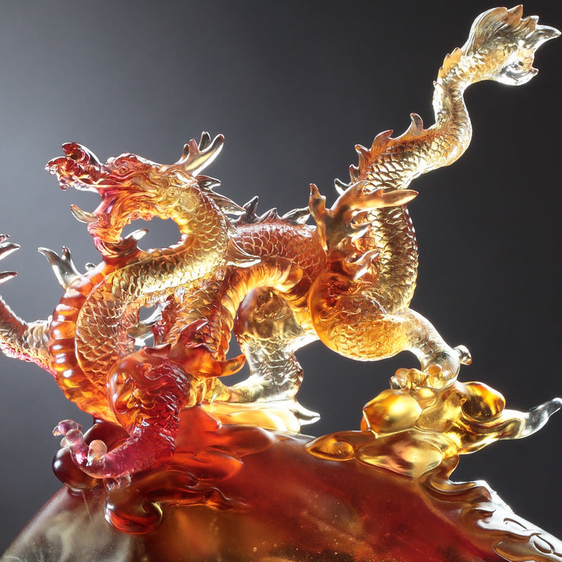 "Dragon of Leadership - ""Appearance of the Influential Dragon"" - LIULI Crystal Art"