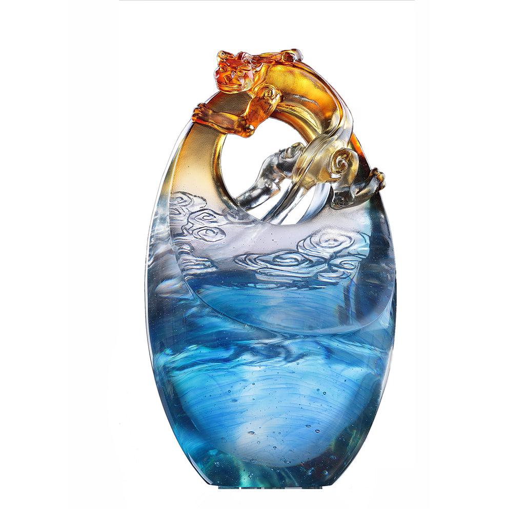Crystal Mythical Creature, Chilong, Rise Above - LIULI Crystal Art - Sapphire Blue / Blue.