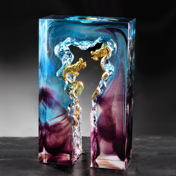 Dragon Gate, Reach for the Sky - Dragon of Excellency - LIULI Crystal Art