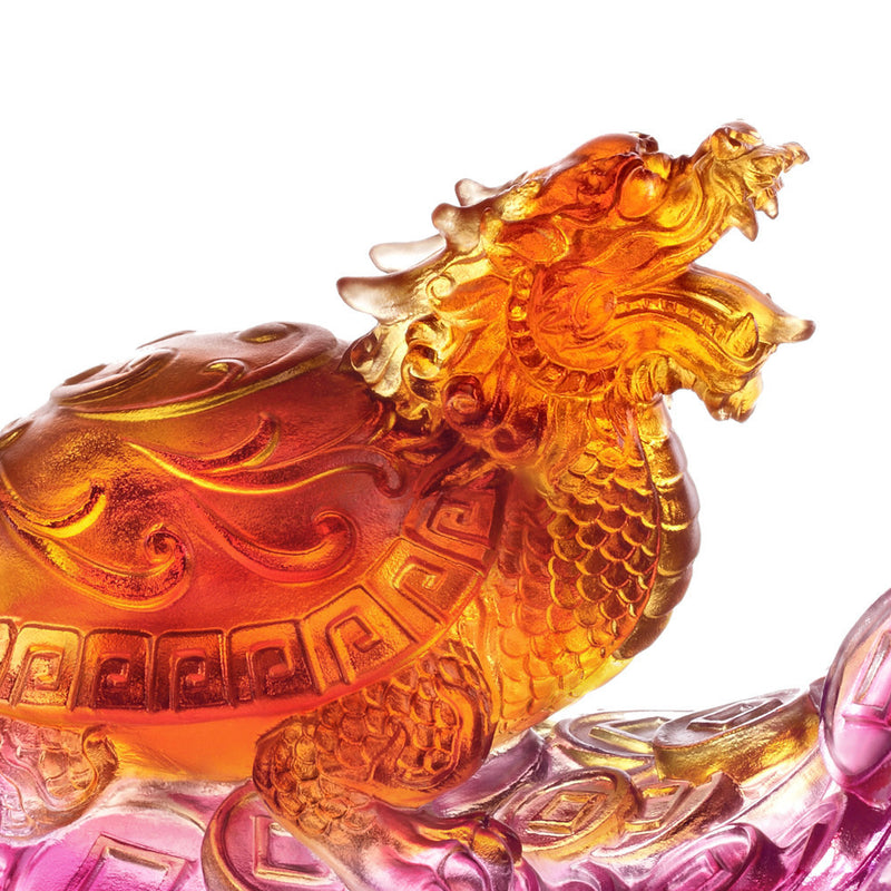 Crystal Mythical Creature, Guardian, Black Tortoise of the North-Xuanwu, Traversing Miles of Wind and Cloud - LIULI Crystal Art