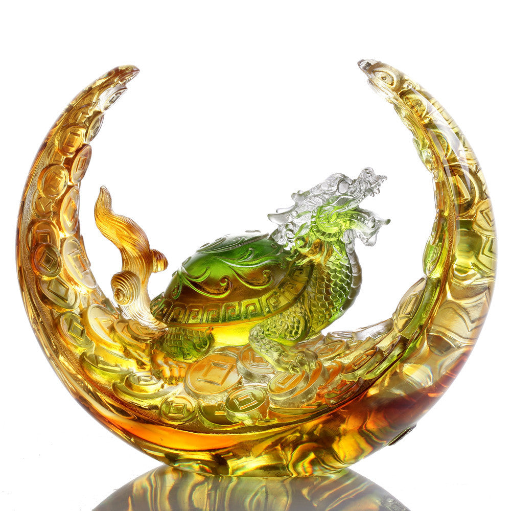 Traversing Miles of Wind and Cloud (Ambition) - Mythical Creature - LIULI Crystal Art - Amber / Spring Green.