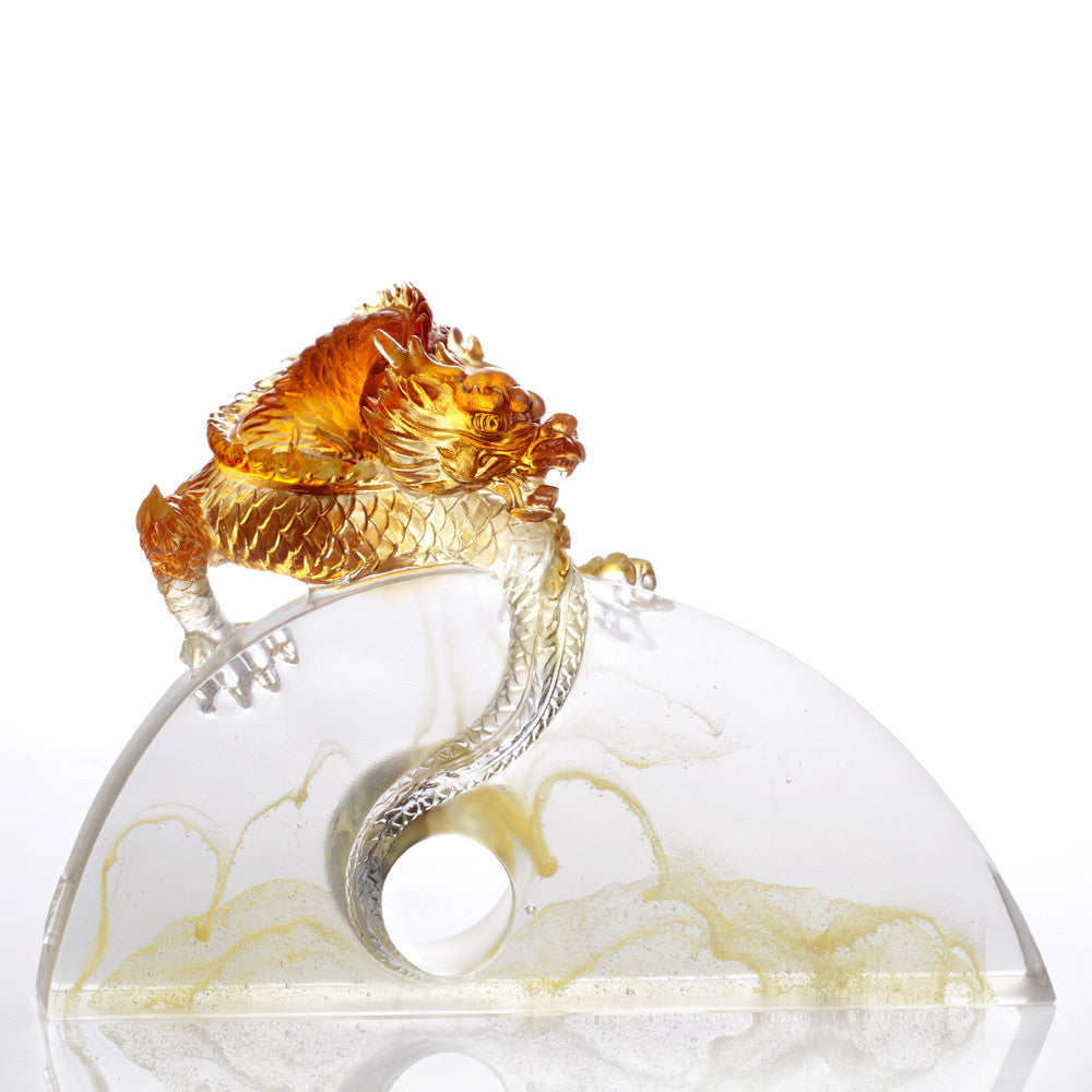 Crystal Mythical Creature, Dragon, Within Grasp - LIULI Crystal Art - Light Amber.
