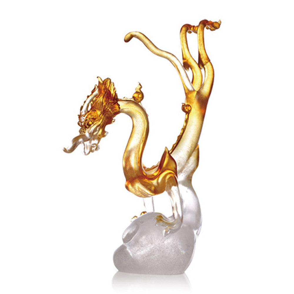 The Dragon Within Us - Dragon of Pride - LIULI Crystal Art - Amber Clear.