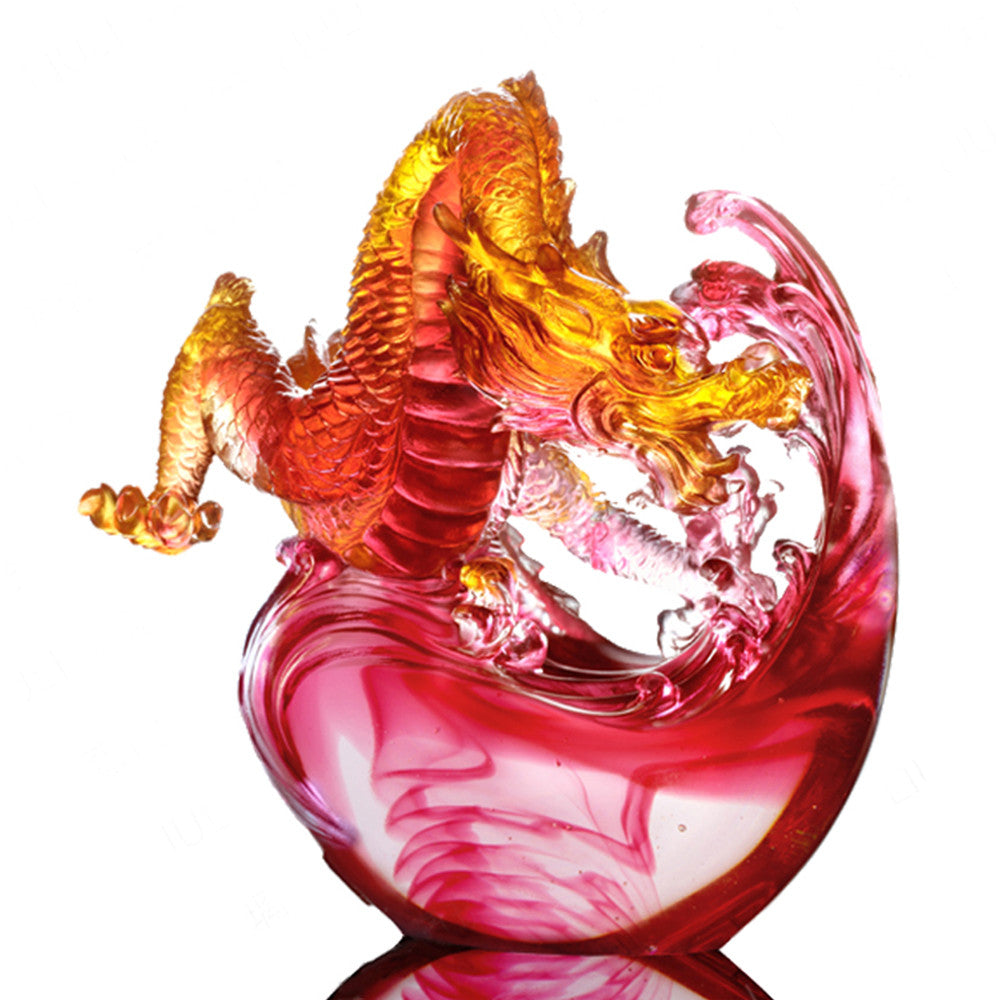 Crystal Mythical Creature, Dragon, Of Imposing Repute - LIULI Crystal Art - Amber / Gold Red Clear.