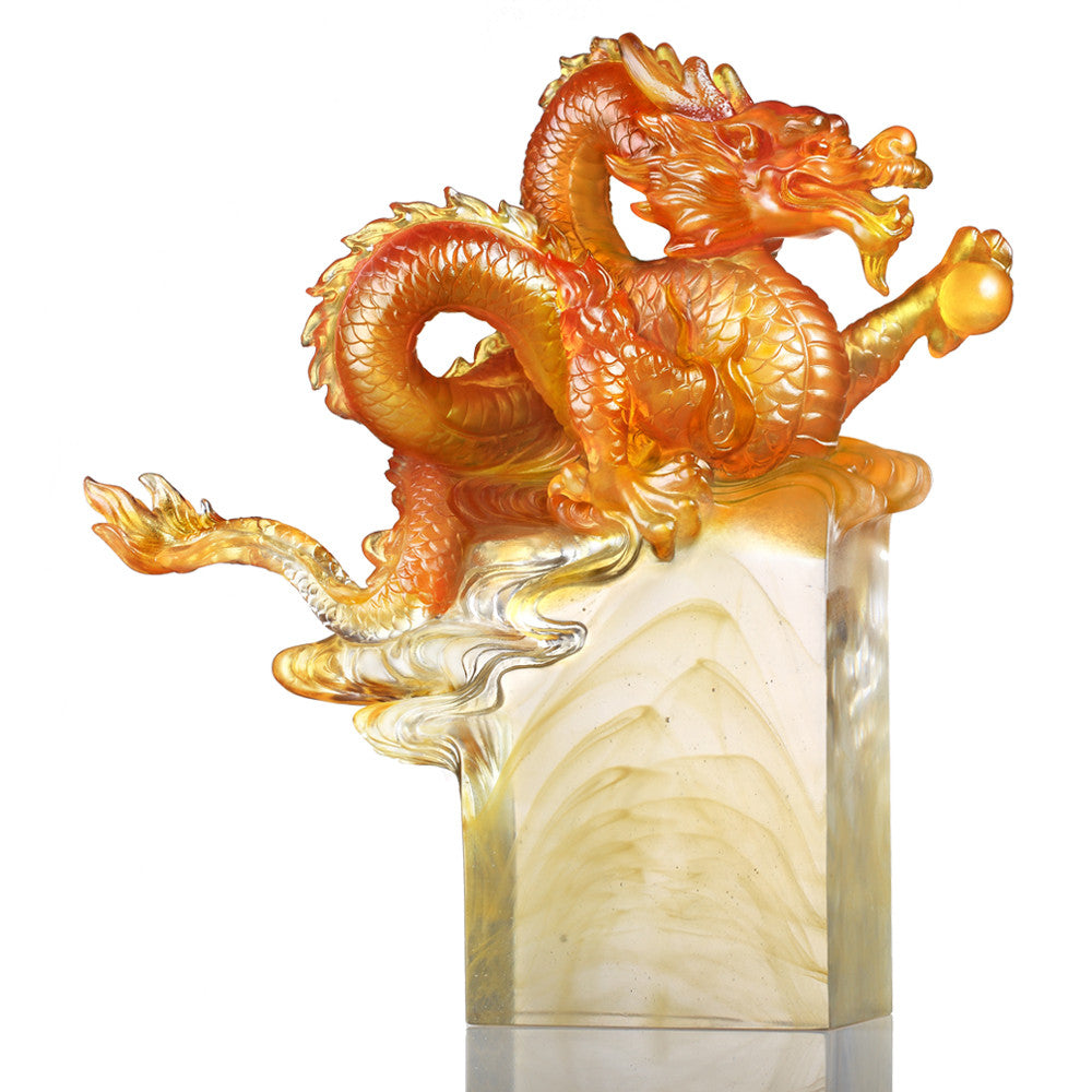 Crystal Mythical Creature, Dragon, Age of the Rising Dragon - LIULI Crystal Art - Dark Amber / Light Amber.