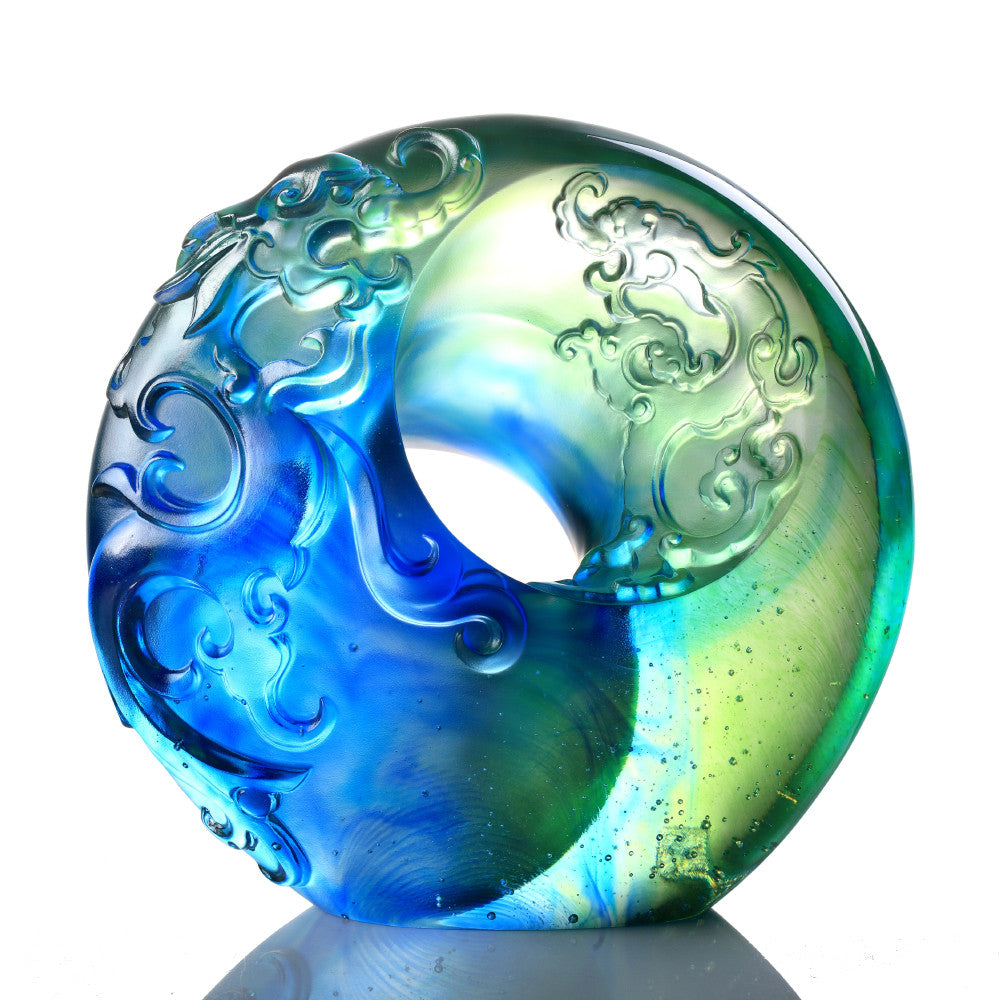 Crystal Mythical Creature, Dragon, Supreme Harmony - LIULI Crystal Art - Bluish / Green Clear.