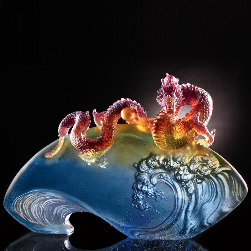 Crystal Mythical Creature, Dragon, The Space Between Heaven and Earth - LIULI Crystal Art