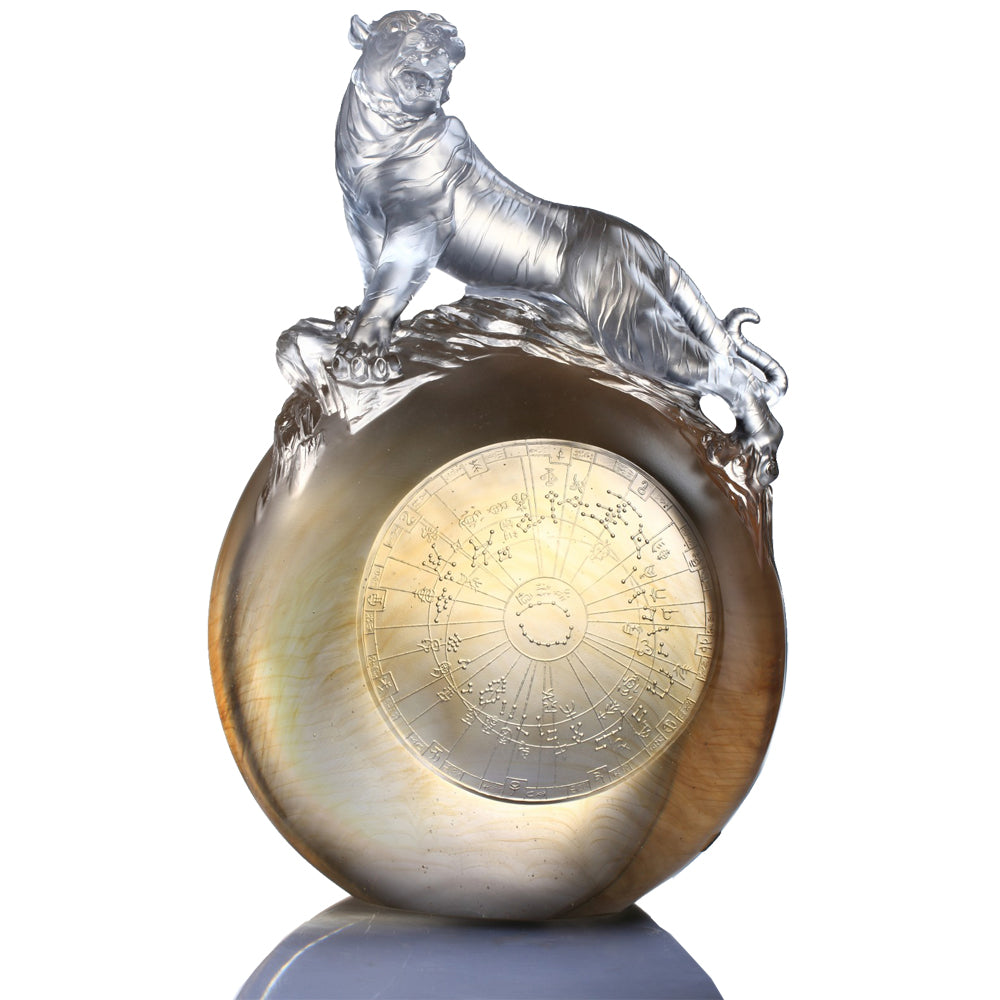 Crystal Animal, Tiger, Guardian, White Tiger of the West-Roar of the Tiger - LIULI Crystal Art