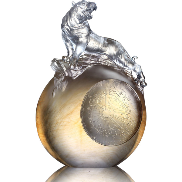 Roar of the Tiger (Guardian, White Tiger of the West) - LIULI Crystal Art | Collectible Glass Art