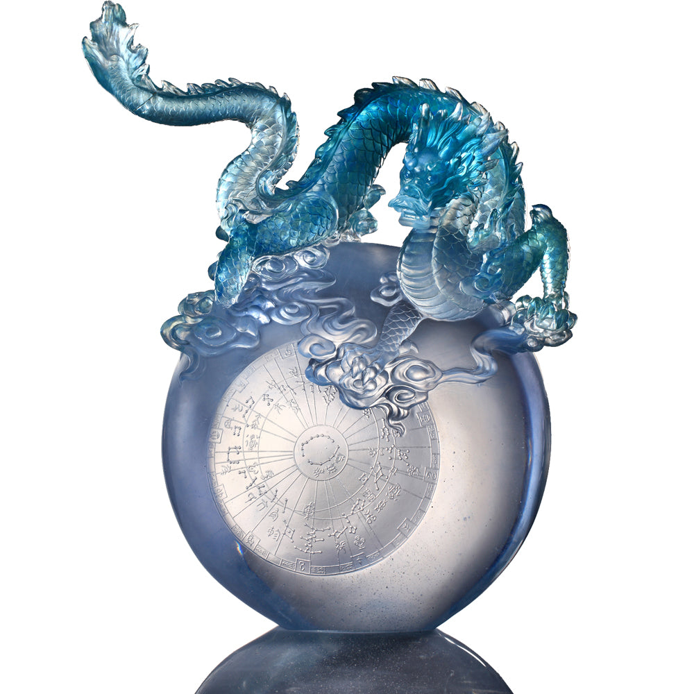 Crystal Mythical Creature, Dragon, Guardian-Azure Dragon of the East, Rise of the Dragon - LIULI Crystal Art