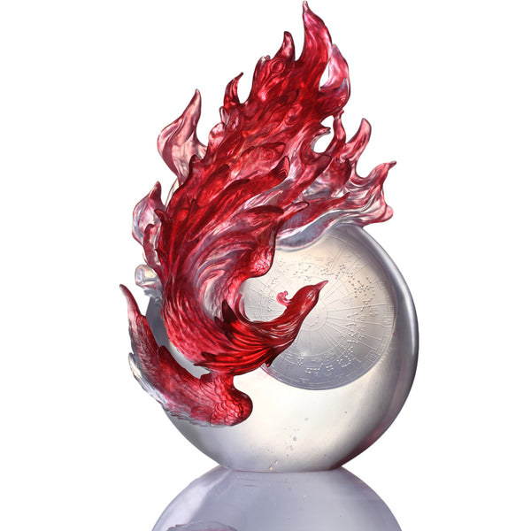 Dance of the Phoenix (Guardian, Vermilion Bird of the South) - LIULI Crystal Art | Collectible Glass Art