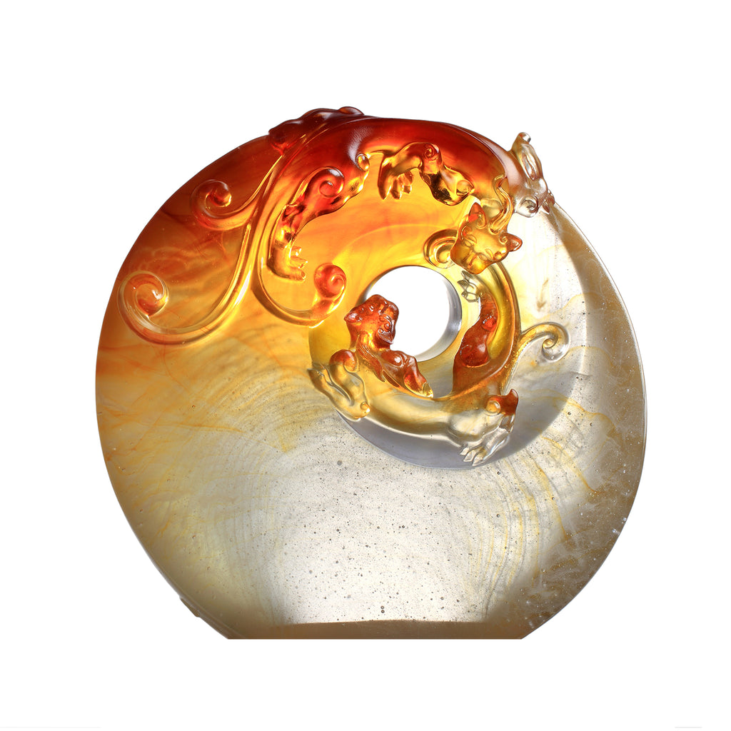 Crystal Mythical Creature, Son of the Dragon-Chilong, Collective Heart - LIULI Crystal Art - Dark Amber / Light Amber.