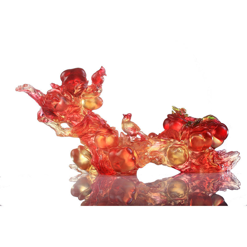 Crystal Ruyi Feng Shui with Magpie, Ruyi Charged with Joy - LIULI Crystal Art