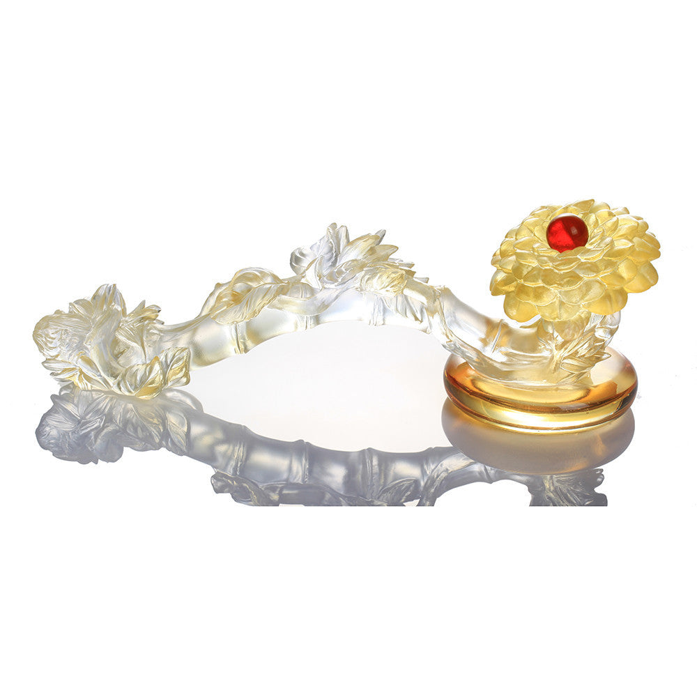 Crystal Feng Shui Ruyi, Camellia, Ruyi of Virtue - LIULI Crystal Art