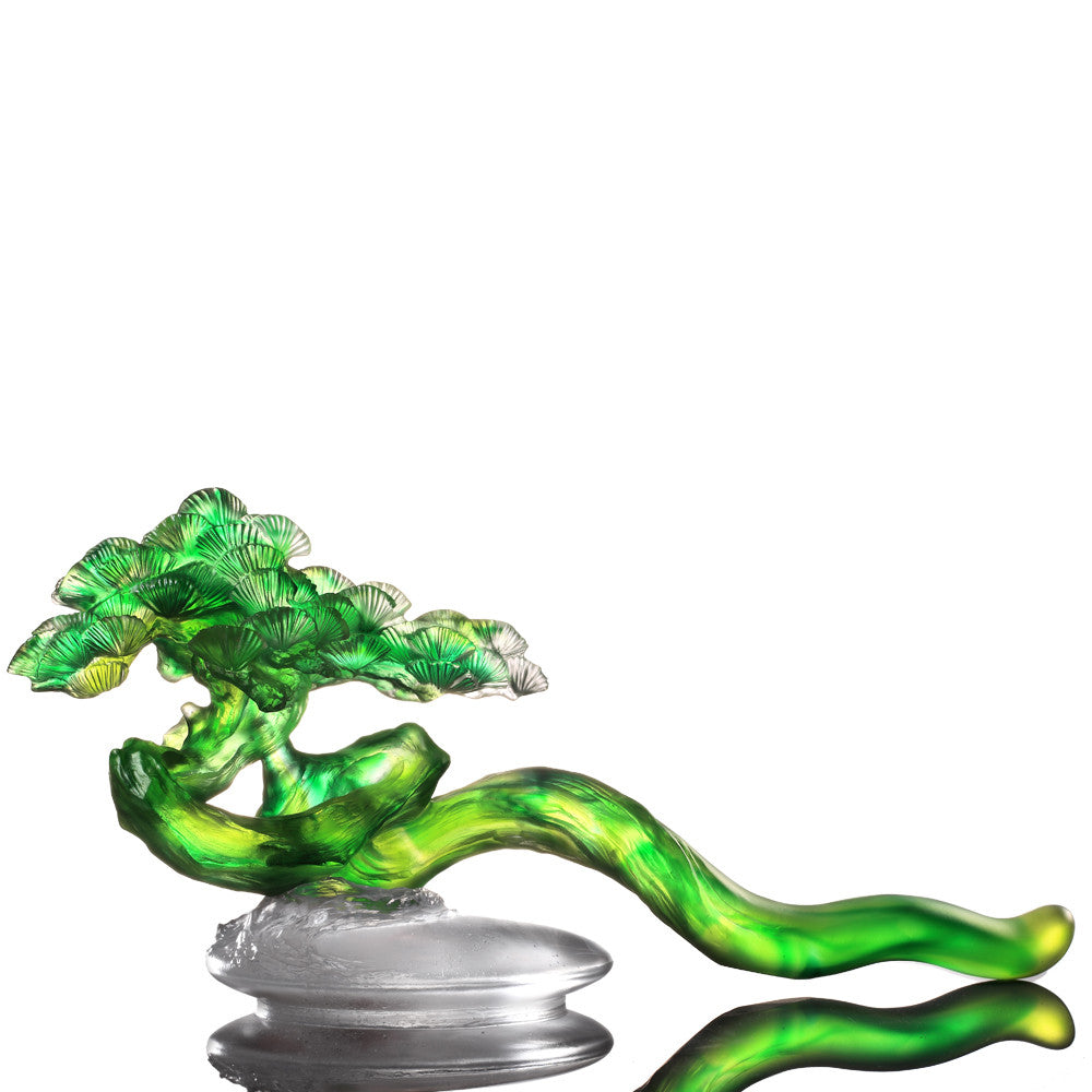 Three-inlay Ruyi Figurine (Health & Longevity) - Heavenly Pine - LIULI Crystal Art - Lush Green / Green Clear.