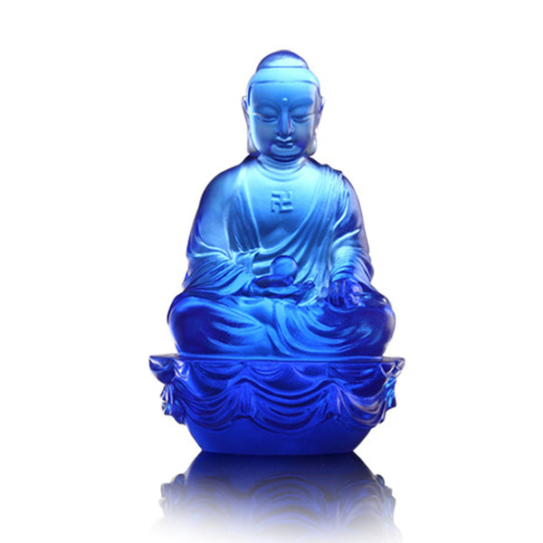 "Buddha Figurine (Accompanied by Peace and Joy) - Blue ""Medicine Buddha"" - LIULI Crystal Art 