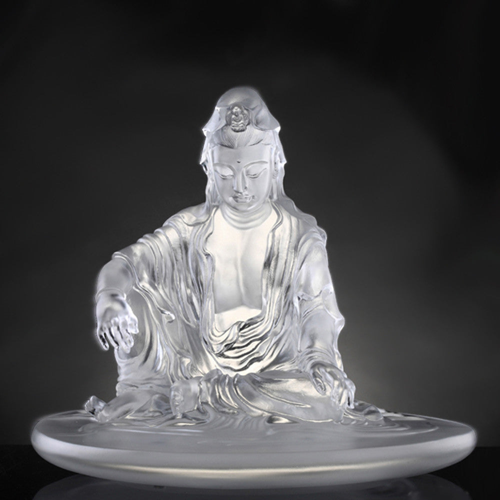 "Guan Yin Figurine - ""Encompassed by Water and Moon"" - LIULI Crystal Art - [variant_title]."