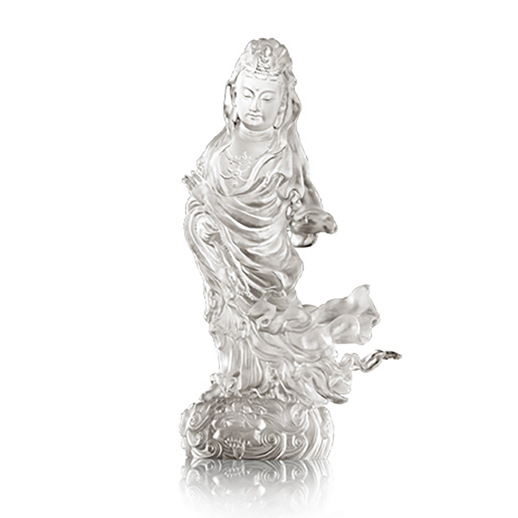 Crystal Buddha, Guanyin, Heartfelt Compassion in Each Step - LIULI Crystal Art