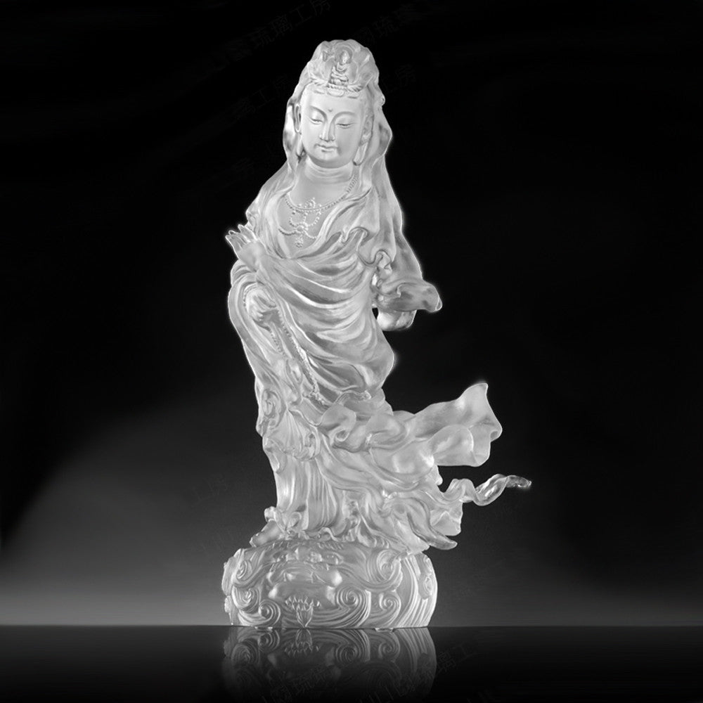 "Buddha Figurine (Guan Yin, Kindhearted) - ""Heartfelt Compassion in Each Step"""