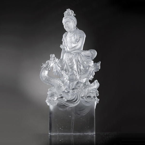 Mercy, Buddha Figurine (Guan Yin) - Enlightened by the Auspicious Dragon - LIULI Crystal Art | Collectible Glass Art
