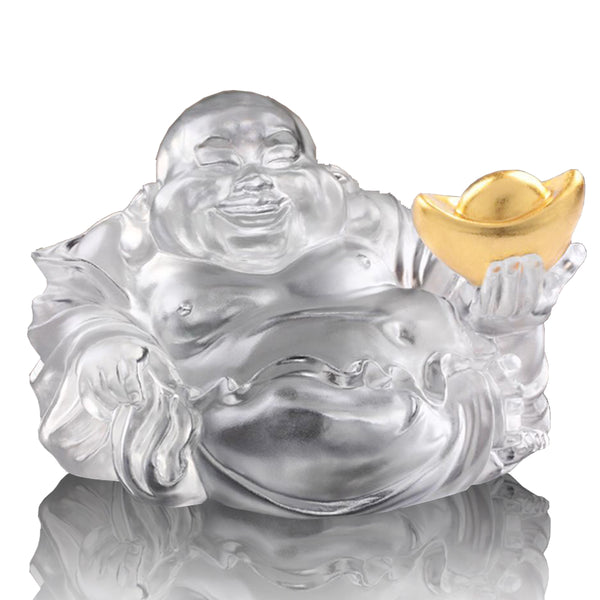 Happy Belly Buddha (Fortune & Wealth) - Come Joy and Fortune - LIULI Crystal Art | Collectible Glass Art